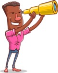 Vector African American Man Cartoon Character Design AKA Bud - Telescope