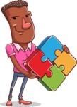 Vector African American Man Cartoon Character Design AKA Bud - Puzzle