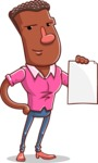 Vector African American Man Cartoon Character Design AKA Bud - Sign 2