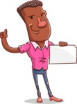 Vector African American Man Cartoon Character Design AKA Bud - Sign 3