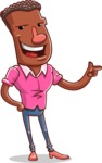 Vector African American Man Cartoon Character Design AKA Bud - Point