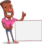 Vector African American Man Cartoon Character Design AKA Bud - Sign 7
