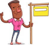 Vector African American Man Cartoon Character Design AKA Bud - Sign 9