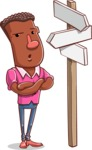 Vector African American Man Cartoon Character Design AKA Bud - Crossroad