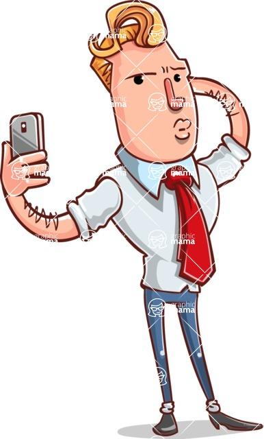 Vector Businessman Cartoon Character Design - Duckface