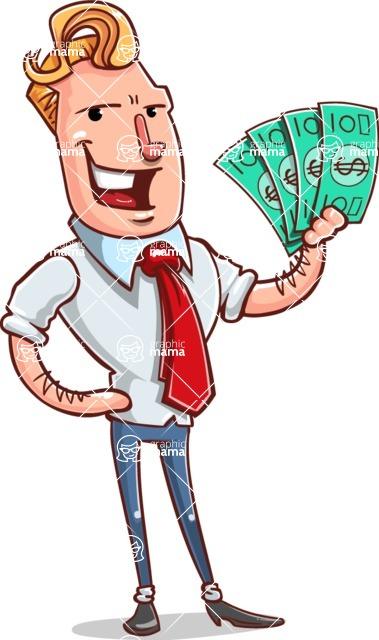 Vector Businessman Cartoon Character Design - Show me the Money