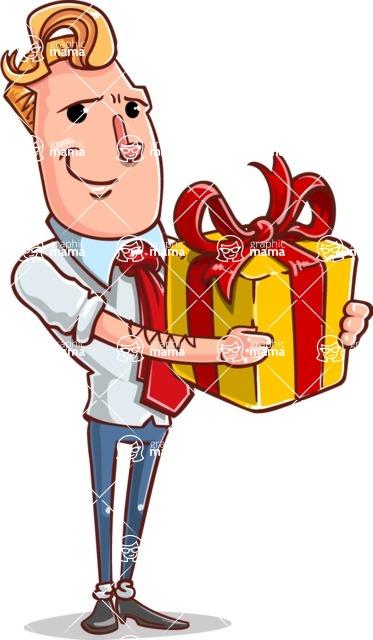Vector Businessman Cartoon Character Design - Gift