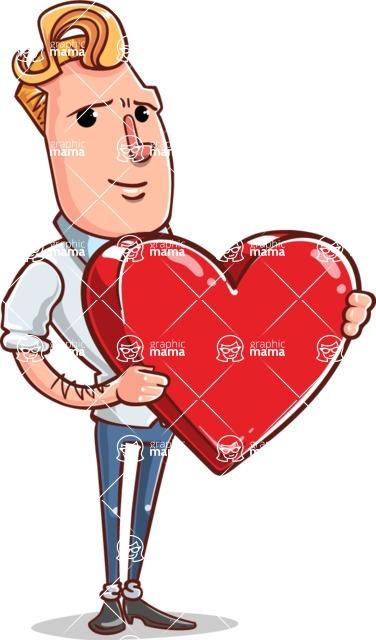 Vector Businessman Cartoon Character Design - Love