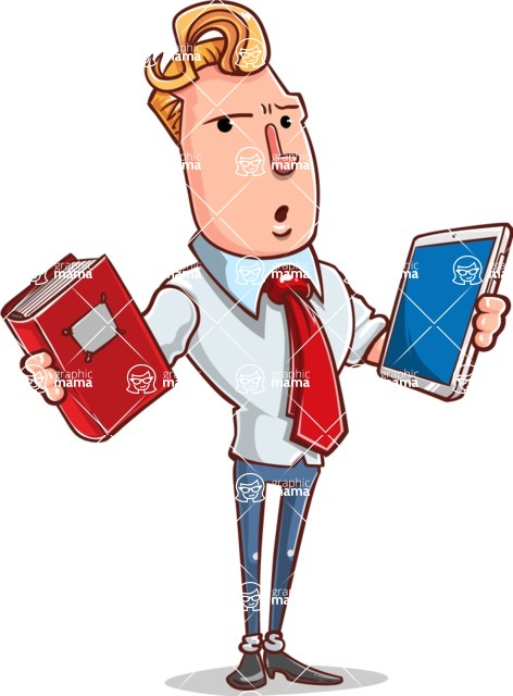 Vector Businessman Cartoon Character Design - Book and iPad