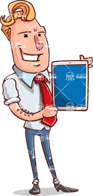 Vector Businessman Cartoon Character Design - iPad 2
