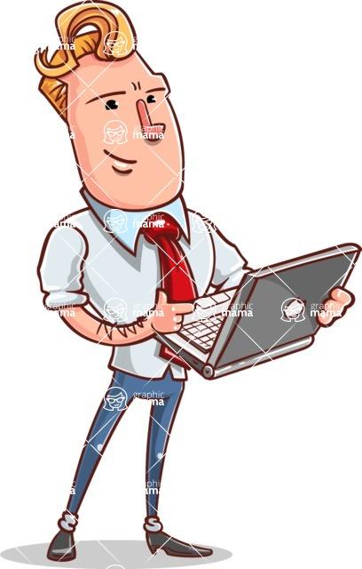 Vector Businessman Cartoon Character Design - Laptop 1
