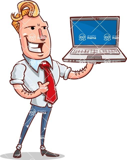 Vector Businessman Cartoon Character Design - Laptop 2