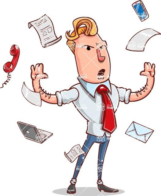 Vector Businessman Cartoon Character Design - Office Fever