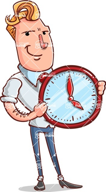 Vector Businessman Cartoon Character Design - Time is Yours