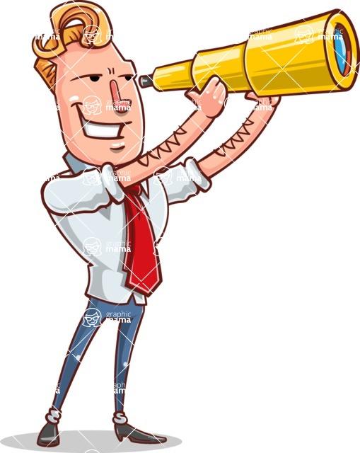 Vector Businessman Cartoon Character Design - Telescope