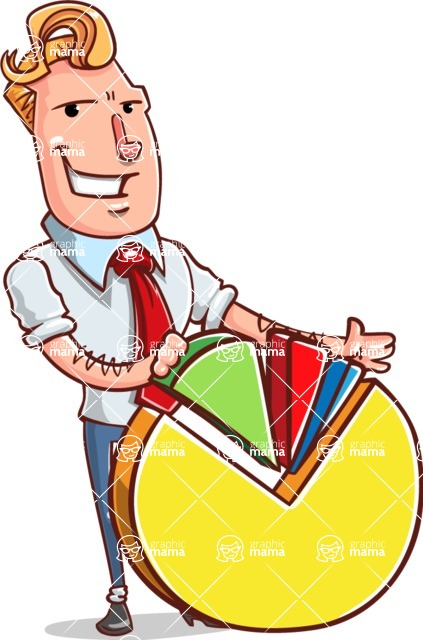 Vector Businessman Cartoon Character Design - Chart