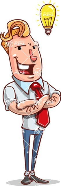 Vector Businessman Cartoon Character Design - Idea 2