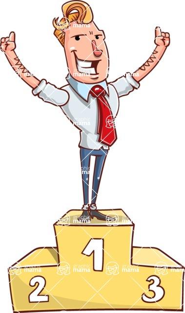 Vector Businessman Cartoon Character Design - On Top
