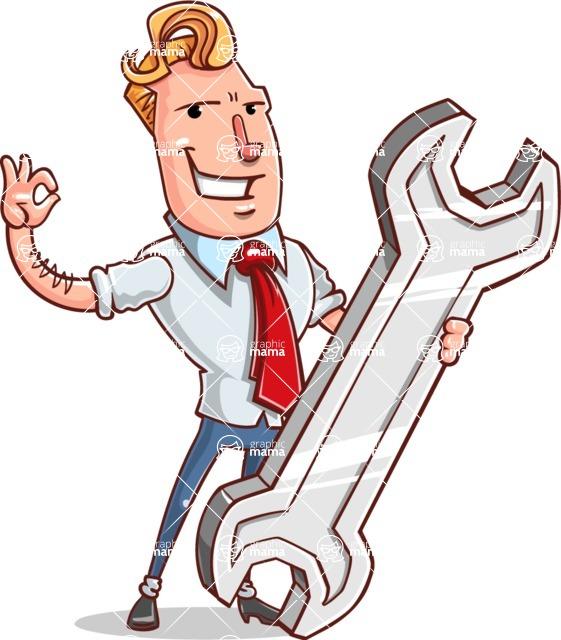 Vector Businessman Cartoon Character Design - Repair
