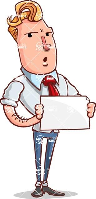 Vector Businessman Cartoon Character Design - Sign 4