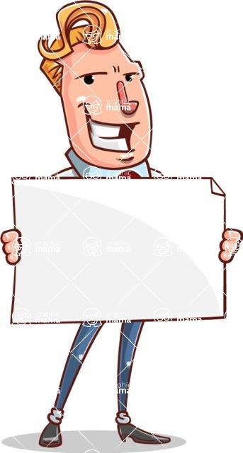 Vector Businessman Cartoon Character Design - Sign 5