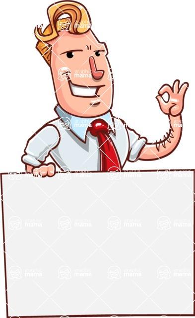 Vector Businessman Cartoon Character Design - Sign 6