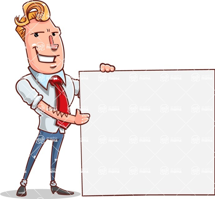 Vector Businessman Cartoon Character Design - Sign 8