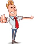 Vector Businessman Cartoon Character Design - Direct Attention