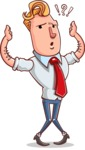Vector Businessman Cartoon Character Design - Confused