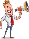 Vector Businessman Cartoon Character Design - Loudspeaker