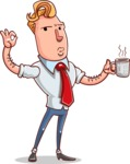 Vector Businessman Cartoon Character Design - Coffee