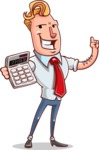 Vector Businessman Cartoon Character Design - Calculator