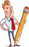 Vector Businessman Cartoon Character Design - Pencil