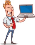 Vector Businessman Cartoon Character Design - Laptop 2