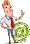 Vector Businessman Cartoon Character Design - Email