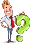 Vector Businessman Cartoon Character Design - Question