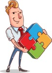 Vector Businessman Cartoon Character Design - Puzzle