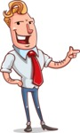 Vector Businessman Cartoon Character Design - Point