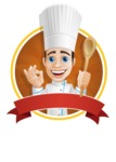 Chef with Uniform Cartoon Vector Character AKA Carlos Food-Lover - Making Delicious Gesture Sticker Template