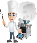 Chef with Uniform Cartoon Vector Character AKA Carlos Food-Lover - Messy Kitchen