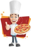 Chef with Uniform Cartoon Vector Character AKA Carlos Food-Lover - Pizza with Background Illustration