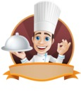 Chef with Uniform Cartoon Vector Character AKA Carlos Food-Lover - Restaurant Premade Sticker Template with Name and Chef