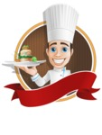 Chef with Uniform Cartoon Vector Character AKA Carlos Food-Lover - Sticker Template with Gourmet Plate