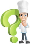 Chef with Uniform Cartoon Vector Character AKA Carlos Food-Lover - With Question Mark