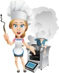 Beautiful Chef Girl Cartoon Vector Character AKA Fleur DeTaste - Messy Kitchen