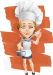 Beautiful Chef Girl Cartoon Vector Character AKA Fleur DeTaste - Tasting Delictious Homemade Food Illustration with Background