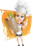 Beautiful Chef Girl Cartoon Vector Character AKA Fleur DeTaste - With Best Groceries and Simple Shapes Background Illustration