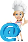Beautiful Chef Girl Cartoon Vector Character AKA Fleur DeTaste - With Email Web Sign