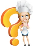 Beautiful Chef Girl Cartoon Vector Character AKA Fleur DeTaste - With Question Mark