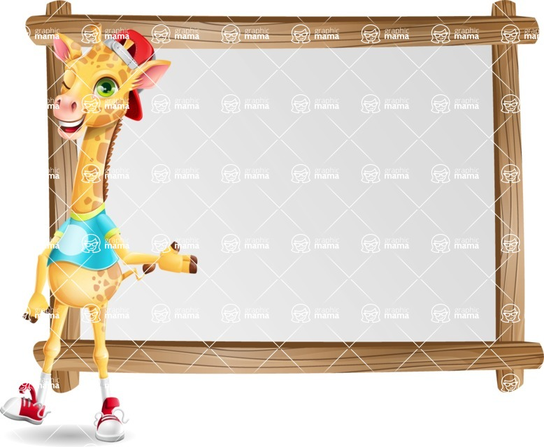 Funny Giraffe Cartoon Vector Character - Showing on Big whiteboard